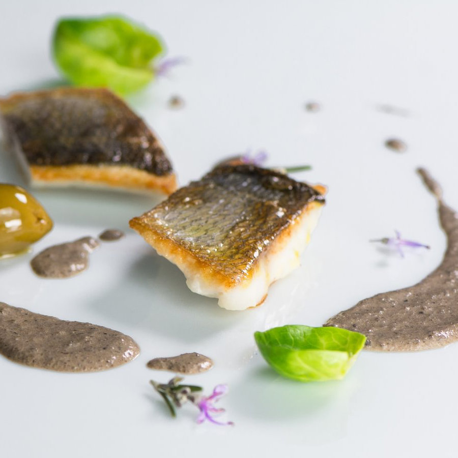 White fish fillet in Truffle and olive sauce